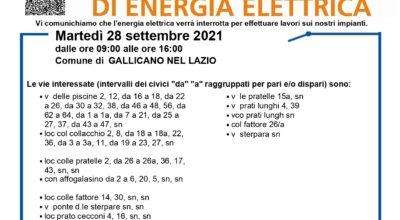 Avviso di interruzione di energia elettrica per il giorno 28.09.2021 nelle zone di Via Pescina, Grotte dell'acqua, Colle Collacchio e zone limitrofe